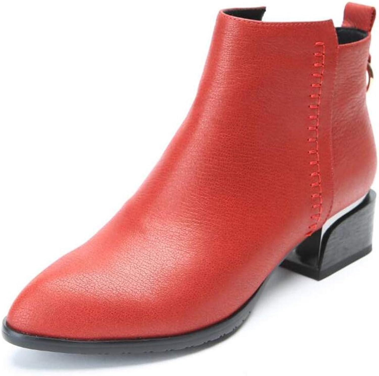 Kvinnors vinterstövlar, damskor Kvinnor Kvinnor Kvinnor Vintage Chunky hög klack s Thick Heel kort Boot Ankle Boot s Zipper Martin Boot s (Färg  A, Storlek  36)  spara upp till 80%