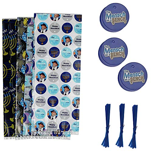 Mensch on a Bench Cello Gift Bags with Ties and Tags for Hanukkah, 5 x 11 inches, 24-Count