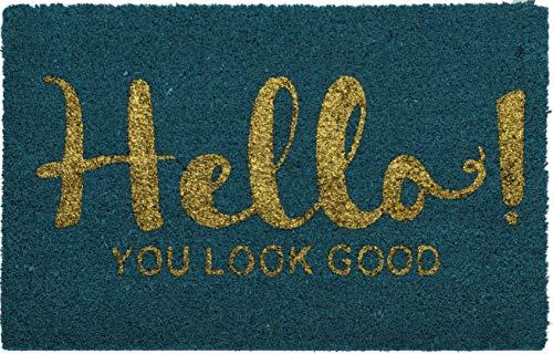 hibuy Kokos Fußabstreifer 40x60cm Farbig mit Spruch. 40cm auf 60cm Hello! You Look Good