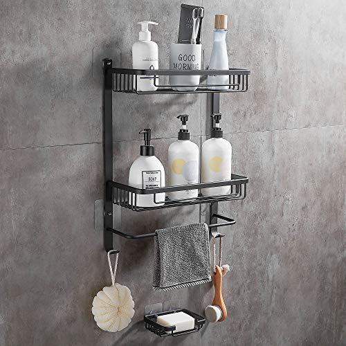 DUFU 2 Stufe Regal für Bad Dusche Ablage Wandregal Selbstklebende Aluminium mit 2 Haken Duschablagen Ohne Bohren Badezimmer Duschkorbe Badregal mit Handtuchhalter und Seifenschale