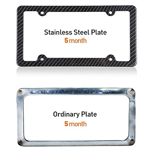 ROADFAR License Plate Frame Chrome Screw Caps, Aluminum Tag Holders 4 Holes kit,2pcs Car Licenses Plate Covers Holders,Protect Front Back License Plates US Vehicles