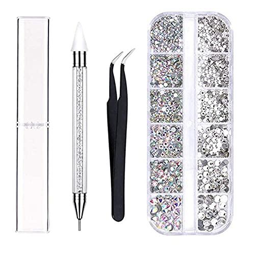 LSB-SHOWER Nuevas Decoraciones de Diamantes de imitación para decoración de uñas, bolígrafo para puntear, Pinzas para uñas para niñas, diseños de Arte de uñas DIY, decoración de manicura