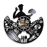 ROMK Relojes de Pared Chef Reloj de Pared Restaurante Logotipo de la Empresa Decoración de Pared Utensilios de Cocina Cocinero Profesional Cocina Gourmet Reloj de Vinilo para Alimentos