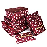 FiveRen Compression Packing Cubes 6 PCS Storage Travel Luggage Bags Pouches Organizers, Wine Red Flower