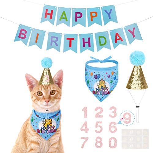 EXPAWLORER Birthday Cat Bandanna Hat Banner Set - Cute Triangle Scarf with Party Hat and Flag Decorations for Kittens, Small Animals