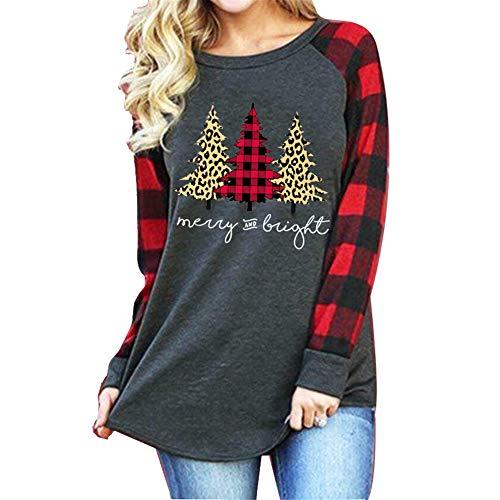 ZFQQ Otoño/Invierno Camiseta de Manga Larga Estampada navideña para Mujer