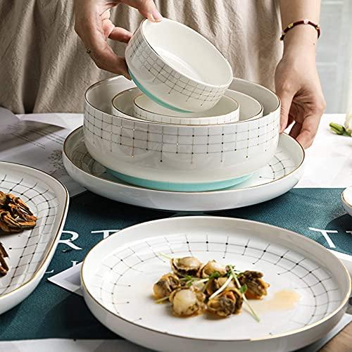 Juego de vajilla de alta gama, vajilla de cerámica, 40 piezas, plato de postre y taza de café, plato de bistec de Phnom Penh de lujo ligero y ligero |Juego de vajilla de porcelana para reuniones fami