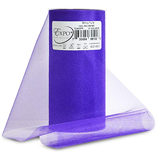 Expo Shiny Tulle Spool of 25-Yard, Purple