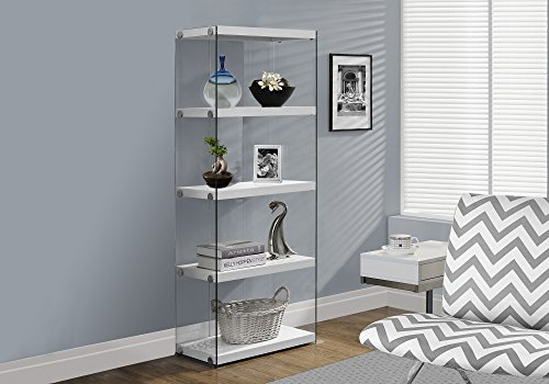 Monarch Specialties I Bookcase-5-Shelf Etagere Bookcase Contemporary Look with Tempered Glass Frame Bookshelf, 60 H, (White)