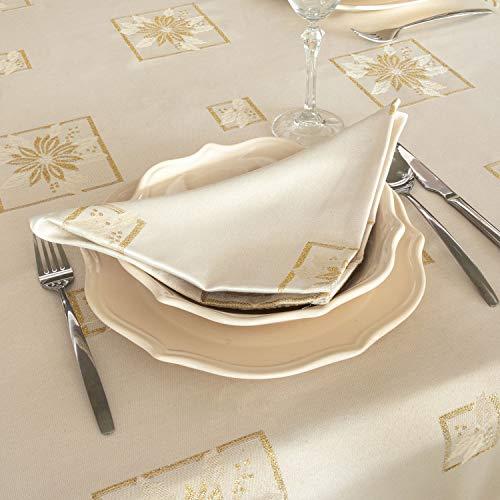 """Mantel elegante con diseño navideño y tratamiento antimanchasReferencia: Christmas., Blanco, 6 NAPKINS 18 x 18"""" (45 x 45cm)"""