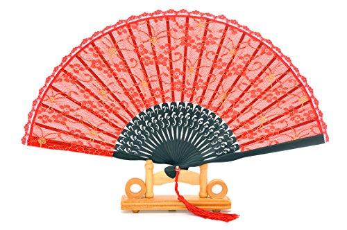 Abanico de seda y bambú de mano, plegable y con funda de...