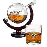 Geschenke 24 Whiskykaraffe im Globus Design + 1 Glas mit Personalisierung: Geschenkset aus Whiskyflasche in Weltkugel Form und hochwertigen Whiskygläsern mit Namensgravur - Dekanter mit Segelschiff