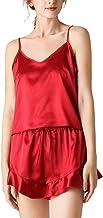 Kleding Satijnen pyjamaset voor dames, hemdje shorts met V-hals 2-delige pyjama's, zomers sexy pak voor thuisservice Licht...