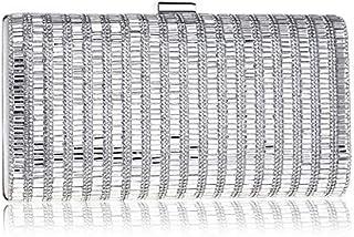 Backpack Women Fashion Banquet Party Diamond Square Handbag (Black) (Color : Silver)
