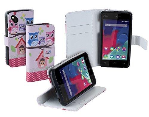 yayago Book Style Tasche für Wiko Sunset 2 Tasche mit Eule-Design Pink
