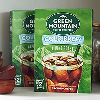 Green Mountain Coffee Roasters, Cold Brew Coffee, Alpine Roast, Dark Roast Coffee, Coarse Ground, Makes 2-48oz. Pitchers of Real Cold Brew Coffee, (4 Pack)