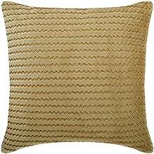 "Designer Gold & Cream 24""x24"" (60x60 cm) Euro Size Pillow Covers, Velvet Beaded European Pillow Covers, Chevron Pattern Mo..."