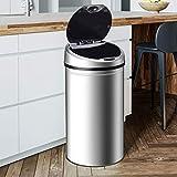 Ribelli Edelstahl Mülleimer - Abfalleimer mit Sensor - automatisches Öffnen und Schließen - Klemmring für Müllbeutel - Abnehmbarer Deckel - mit LED-Funktionsanzeige (Chrom, 40 Liter) - 6