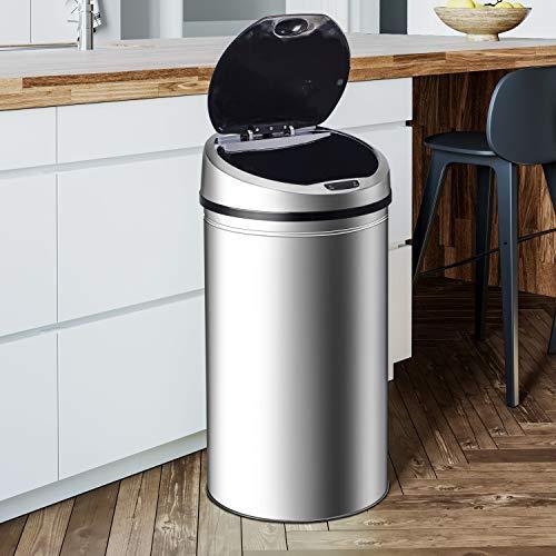 Ribelli Edelstahl Mülleimer - Abfalleimer mit Sensor - automatisches Öffnen und Schließen - Klemmring für Müllbeutel - Abnehmbarer Deckel - mit LED-Funktionsanzeige (Chrom, 30 Liter)