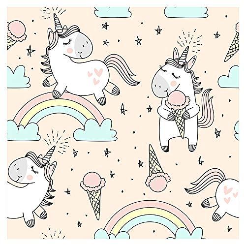 murando Vlies Tapete Deko Panel Fototapete Kinderzimmer Wandtapete Wanddeko 10 m Tapetenrolle Mustertapete Wandtapete modern design Dekoration - Einhorn Regenbogen pink für Kinder Mädchen e-B-0019-j-a