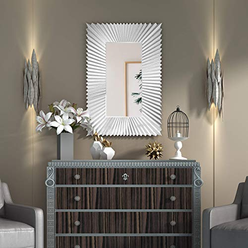 NXHOME Modern Large Rectangular Mirror - Silver Accent Mirror 44×30 Inch Metal Framed Wall Mirror for Home Decor Living Rooms Entryways