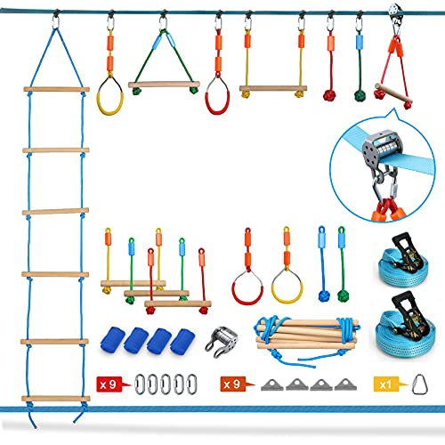 Jugader 50FT Ninja Warrior Obstacle Course for Kids with Zipline Slide Pulley, Ninja Slackline with Climbing Ladder, Monkey Bars, Gym Rings, Rope Knots (Double Line Design)