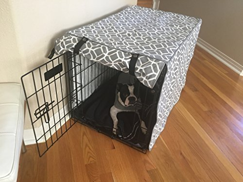528 Zone Gray & White Stained Glass Print Grey Dog Pet Wire Kennel Crate Cage House Cover