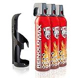 XENOTEC Premium Feuerlöschspray – 3 x 750ml – Wandhalter - Stopfire – Autofeuerlöscher – REINOLDMAX – inklusive Wandhalterung schwarz – wiederverwendbar…