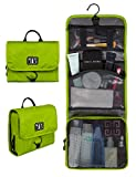BAGSMART Hanging Travel Toiletry Bag Cosmetic Carryon Case Folding Makeup Organizer with Breathable Mesh Pockets Green
