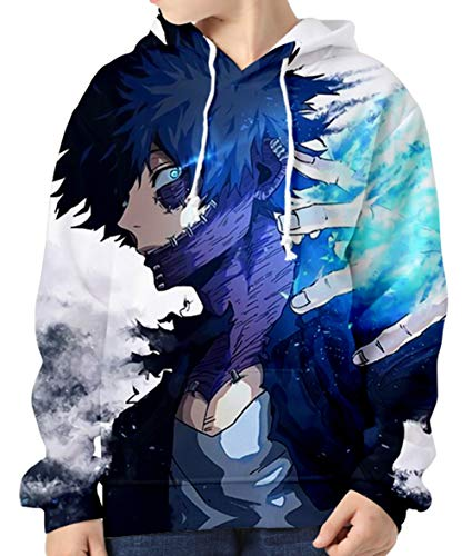 HUASON Garçon Fille Sweat à Capuche My Hero Academia 3D Imprimer Sweat-Shirt Dessin Animé Haut Coloré à Manches Longues Pull(150)