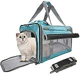 BELPRO Transportadores de Gatos para Perros con 2 Cortinas, Bolsa de Transporte para Mascotas aprobada para Cachorros/Gatito de 15 Libras, 5 Ventanas de Malla, 1 Bolsillo Grande para un Viaje cómodo