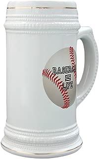 Stein (Glass Drink Mug Cup) Baseball Equals Life