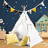 Large Teepee Tent for Kids with Lights, Carry Case, Floor and Banner   Indoor Teepee Tent for Girls Boys   Outdoor Kids Teepee Play Tent   Tipi Tent Kids   Baby Teepee   Toddler Teepee