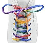 【RAINBOW SHOELACE】 カラフル 虹色 レインボー 靴紐 キラキラ 輝く スニーカー カジュアルシューズにぴったり (100cm(靴紐を通す穴数片側5~6), レインボー)