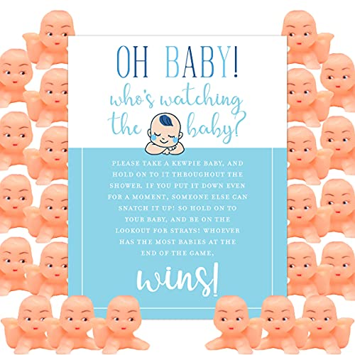 Oh Baby! Whos Watching the Baby Shower Game for 24 Players with Cute Kewpie Babies and 8.5 x 11 Cardstock Instruction Sheet by Shower Games & Co. (Caucasian Blue)