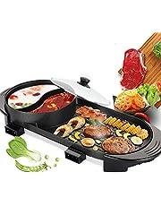 TOPQSC 2 in 1 elektrische barbecue, hete pot, dubbele bakken koken, grote capaciteit huishouden voor 2-12 personen, antiaanbaklaag en snelle opwarming voor familie buiten tuin camping grill BBQ gebruiksvoorwerp