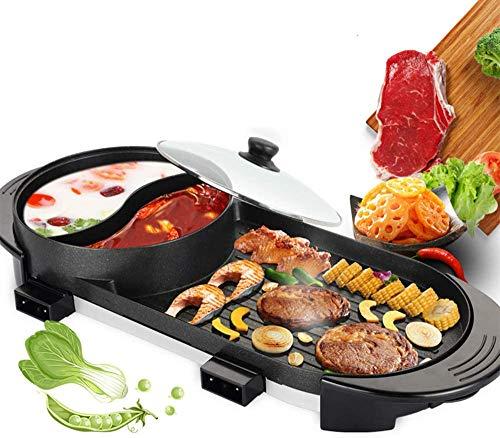 Kacsoo - Kit di griglia elettrica portatile per barbecue, per interni e interni, con pentola, multifunzione, antiaderente, a 5 livelli