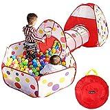 Yosoo Tienda de campaña para niños 3 en 1, túnel de juego, bolas de colores para piscina, interior y exterior, túnel, juego y Play Tent