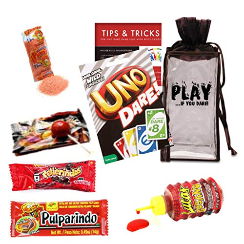 Playing Cards Uno Dare Games Challenge Bundle - Uno Dare Cards by Mattel Spicy Mexican Candy Assortment Challenge Travel Drawstring Bag for Adults and Kids - 17 Piece Pack