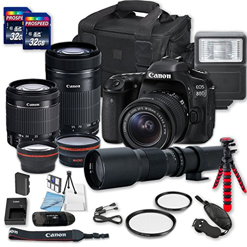 Best Prices! Canon EOS 80D DSLR Camera Bundle with Canon EF-S 18-55mm f/3.5-5.6 is STM Lens + Canon ...