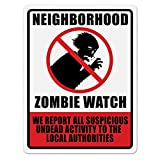 Zombie Plastic Neighbourhood Watch Sign Halloween Decorations Beware Signs Yard Stakes Outdoor Creepy Assorted Warning Sign Scary Zombie Party Decor Supplies 8X12 inch