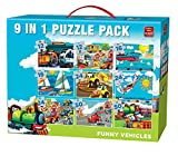 King Funny Vehicles 9in1 Vol 2 Puzzle - Rompecabezas (Puzzle rompecabezas, Dibujos, Niños, Niño/niña, 3 año(s), Cartón)