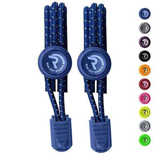 Run out sports elastische Schnürsenkel - Schnellschnürsystem ohne Binden -Schnürsenkel elastisch reflektierend mit Schnellverschluss - für Kinder und Erwachsene - Schuhbänder für Schuhe
