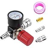 Preciva Air Compressor Pressure Regulator with Dial Gauge, 0-175 PSI Air Gauge for Air Compressor and Air Tools (Four Way Valve)