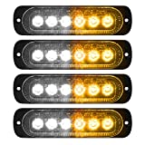 VKGAT 4pcs Sync Feature 6LED Car Truck Emergency Beacon Warning Hazard Flash Strobe Light Surface Mount (Amber/White)