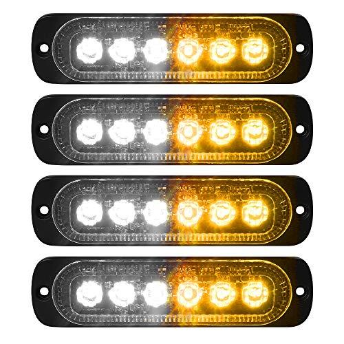 VKGAT 4pcs Sync Feature 6LED Car Truck Emergency Beacon Warning Hazard Flash Strobe Light Surface Mount (Amber/White)