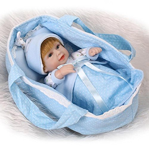 Rocking Horse Blonde Baby Handmade Baby Dolls,Deluxe Creation Reborn Doll,New Born Baby (Open Eyes Girl/Boy) Kids Toys,Blue