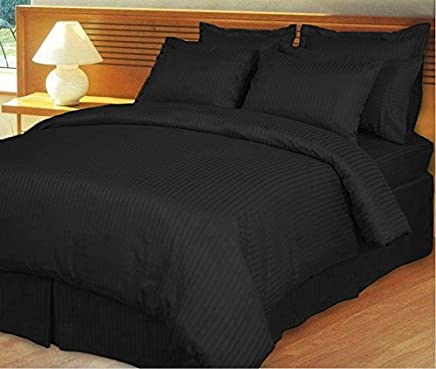 featured product 800 Thread Count -3 Piece- Egyptian Cotton Duvet Cover King / California King Sets (duvet cover and shams) Striped Black