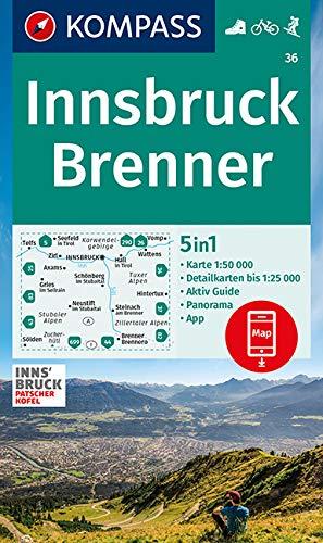 KOMPASS Wanderkarte Innsbruck, Brenner: 5in1 Wanderkarte 1:50000 mit Panorama, Aktiv Guide und Detailkarten inklusive Karte zur offline Verwendung in ... Skitouren. (KOMPASS-Wanderkarten, Band 36)