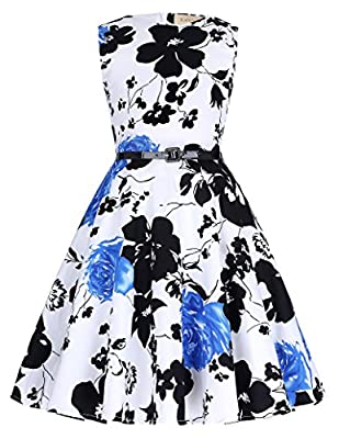 Kate Kasin Print Matched PU Belt Classy Banquet Dresses 9~10Yrs Blue and Black Flower